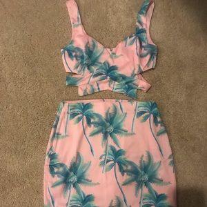 Tropical Skirt and Crop Top Set